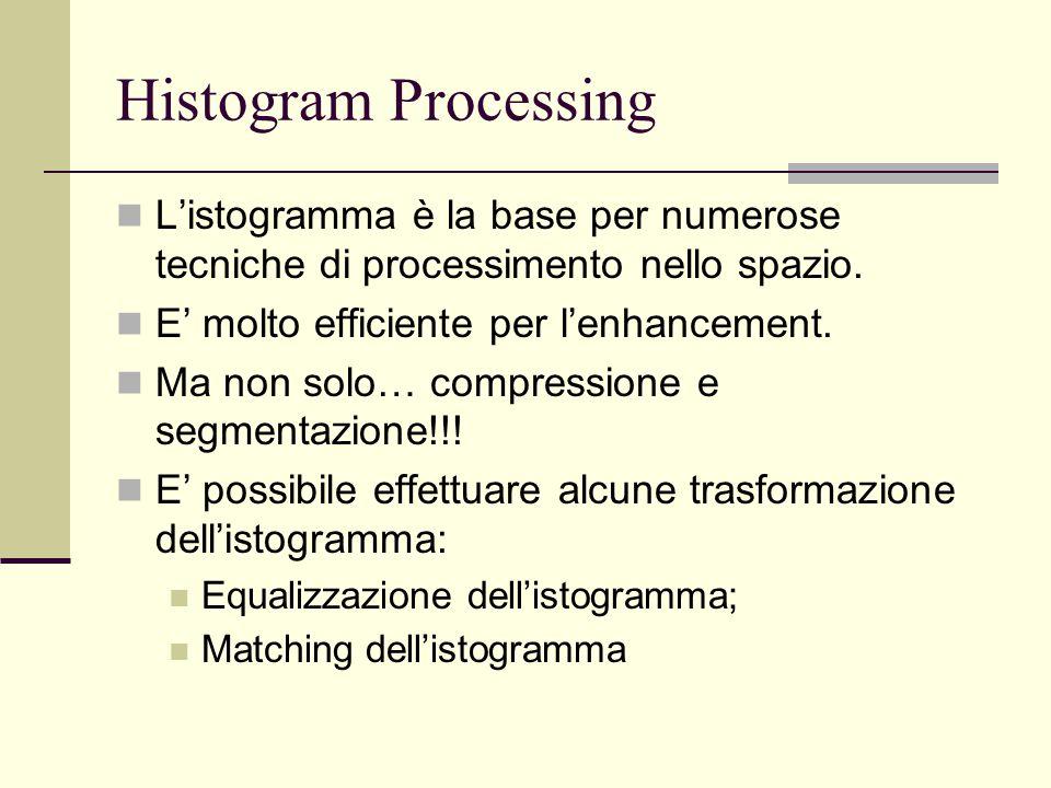 Histogram Processing L'istogramma è la base per numerose tecniche di processimento nello spazio. E' molto efficiente per l'enhancement. Ma non solo… c