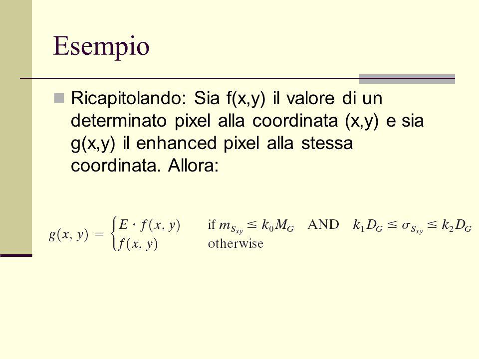 Esempio Ricapitolando: Sia f(x,y) il valore di un determinato pixel alla coordinata (x,y) e sia g(x,y) il enhanced pixel alla stessa coordinata. Allor