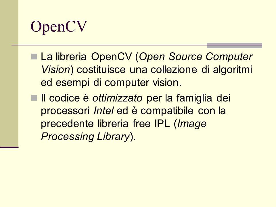OpenCV La libreria OpenCV (Open Source Computer Vision) costituisce una collezione di algoritmi ed esempi di computer vision. Il codice è ottimizzato