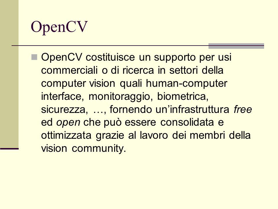 OpenCV OpenCV costituisce un supporto per usi commerciali o di ricerca in settori della computer vision quali human-computer interface, monitoraggio,