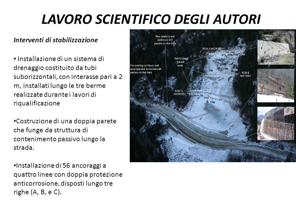 LAVORO SCIENTIFICO DEGLI AUTORI Interventi di stabilizzazione Installazione di un sistema di drenaggio costituito da tubi suborizzontali, con interass