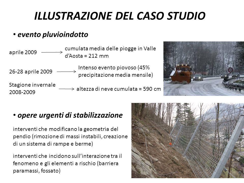 altezza di neve cumulata = 590 cm ILLUSTRAZIONE DEL CASO STUDIO evento pluvioindotto aprile 2009 cumulata media delle piogge in Valle d'Aosta = 212 mm