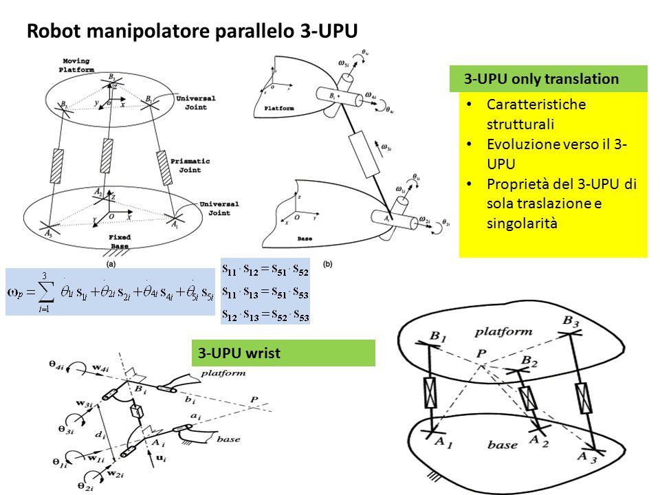 Robot manipolatore parallelo 3-UPU Caratteristiche strutturali Evoluzione verso il 3- UPU Proprietà del 3-UPU di sola traslazione e singolarità 3-UPU