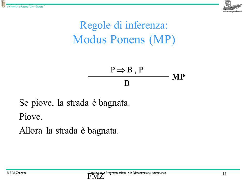 © F.M.ZanzottoLogica per la Programmazione e la Dimostrazione Automatica University of Rome Tor Vergata FMZ 11 Regole di inferenza: Modus Ponens (MP) Se piove, la strada è bagnata.