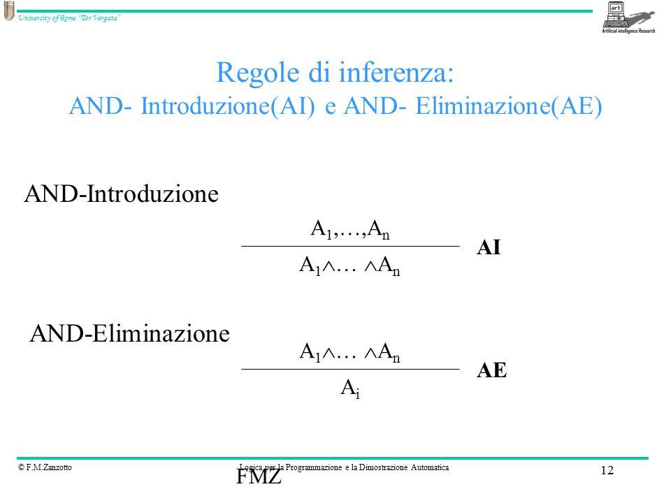 © F.M.ZanzottoLogica per la Programmazione e la Dimostrazione Automatica University of Rome Tor Vergata FMZ 12 Regole di inferenza: AND- Introduzione(AI) e AND- Eliminazione(AE) A 1,…,A n A 1  …  A n AiAi AND-Introduzione AND-Eliminazione AE AI