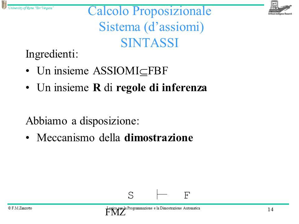 © F.M.ZanzottoLogica per la Programmazione e la Dimostrazione Automatica University of Rome Tor Vergata FMZ 14 Calcolo Proposizionale Sistema (d'assiomi) SINTASSI Ingredienti: Un insieme ASSIOMI  FBF Un insieme R di regole di inferenza Abbiamo a disposizione: Meccanismo della dimostrazione SF