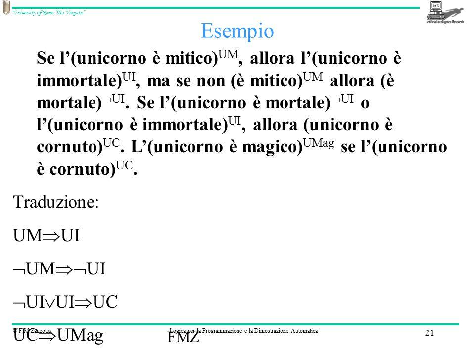 © F.M.ZanzottoLogica per la Programmazione e la Dimostrazione Automatica University of Rome Tor Vergata FMZ 21 Esempio Se l'(unicorno è mitico) UM, allora l'(unicorno è immortale) UI, ma se non (è mitico) UM allora (è mortale)  UI.