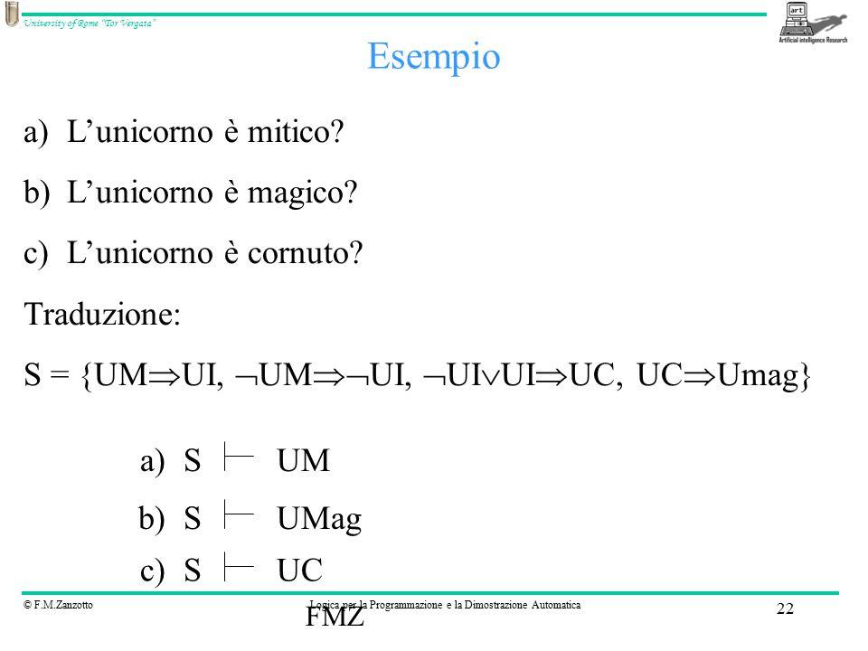 """© F.M.ZanzottoLogica per la Programmazione e la Dimostrazione Automatica University of Rome """"Tor Vergata"""" FMZ 22 Esempio a)L'unicorno è mitico? b)L'un"""