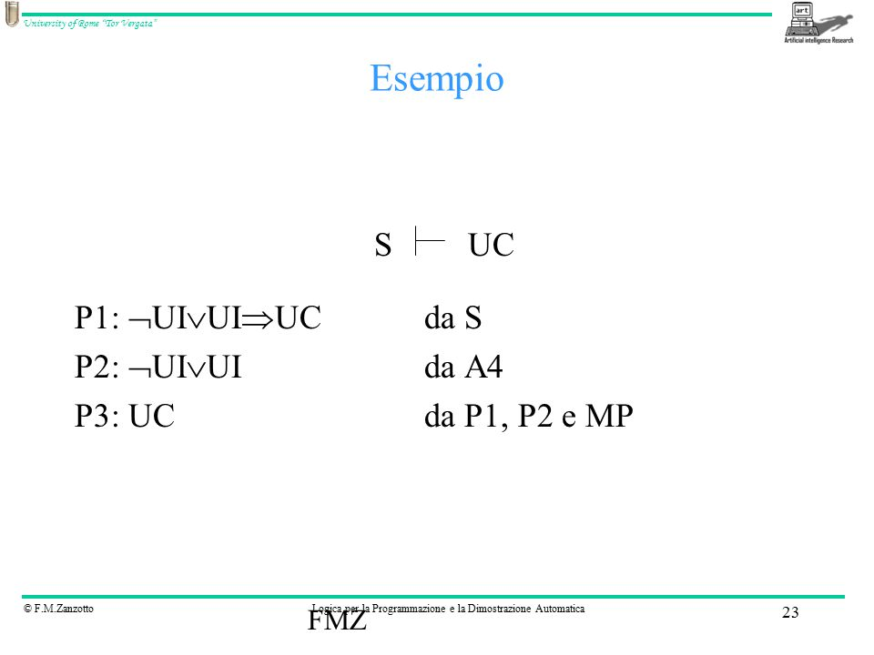 © F.M.ZanzottoLogica per la Programmazione e la Dimostrazione Automatica University of Rome Tor Vergata FMZ 23 Esempio P1:  UI  UI  UCda S P2:  UI  UIda A4 P3: UCda P1, P2 e MP SUC