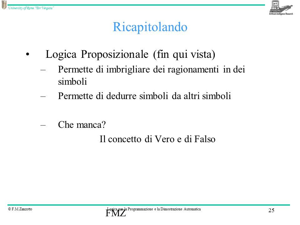 """© F.M.ZanzottoLogica per la Programmazione e la Dimostrazione Automatica University of Rome """"Tor Vergata"""" FMZ 25 Ricapitolando Logica Proposizionale ("""