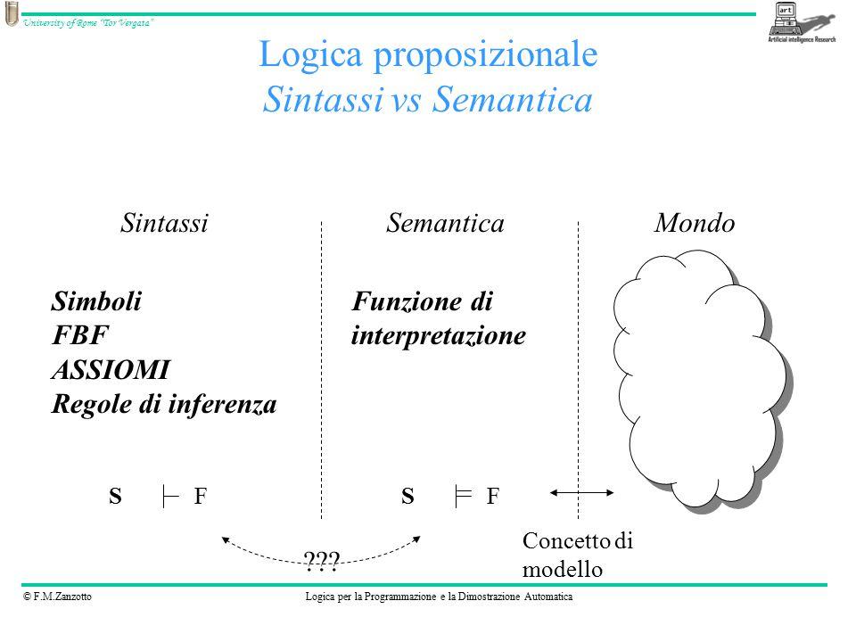 """© F.M.ZanzottoLogica per la Programmazione e la Dimostrazione Automatica University of Rome """"Tor Vergata"""" Logica proposizionale Sintassi vs Semantica"""