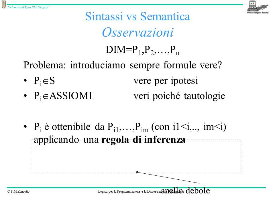 © F.M.ZanzottoLogica per la Programmazione e la Dimostrazione Automatica University of Rome Tor Vergata DIM=P 1,P 2,…,P n Problema: introduciamo sempre formule vere.