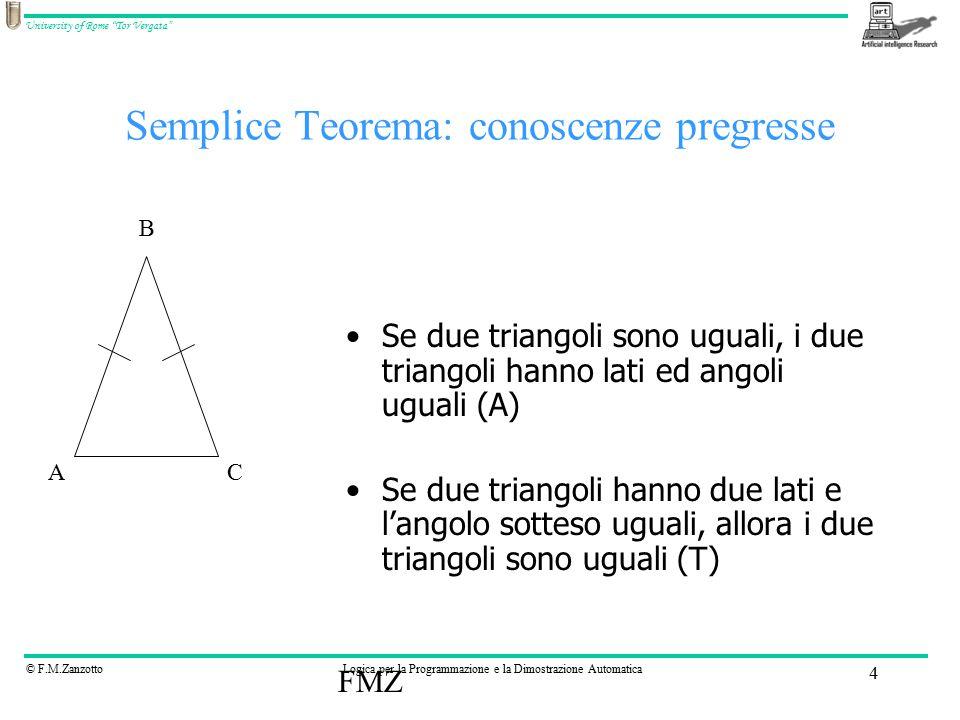 © F.M.ZanzottoLogica per la Programmazione e la Dimostrazione Automatica University of Rome Tor Vergata FMZ 4 Semplice Teorema: conoscenze pregresse Se due triangoli sono uguali, i due triangoli hanno lati ed angoli uguali (A) Se due triangoli hanno due lati e l'angolo sotteso uguali, allora i due triangoli sono uguali (T) AC B