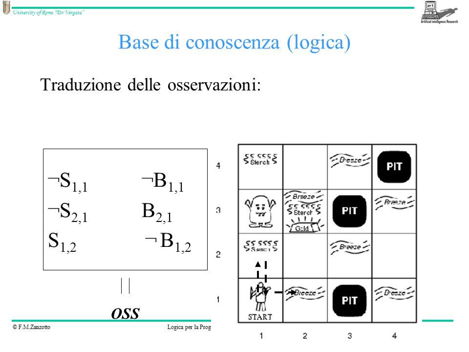 © F.M.ZanzottoLogica per la Programmazione e la Dimostrazione Automatica University of Rome Tor Vergata Base di conoscenza (logica) Traduzione delle osservazioni: ¬S 1,1 ¬B 1,1 ¬S 2,1 B 2,1 S 1,2 ¬ B 1,2 OSS