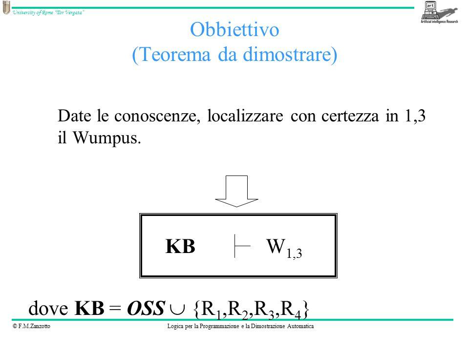 © F.M.ZanzottoLogica per la Programmazione e la Dimostrazione Automatica University of Rome Tor Vergata Obbiettivo (Teorema da dimostrare) Date le conoscenze, localizzare con certezza in 1,3 il Wumpus.