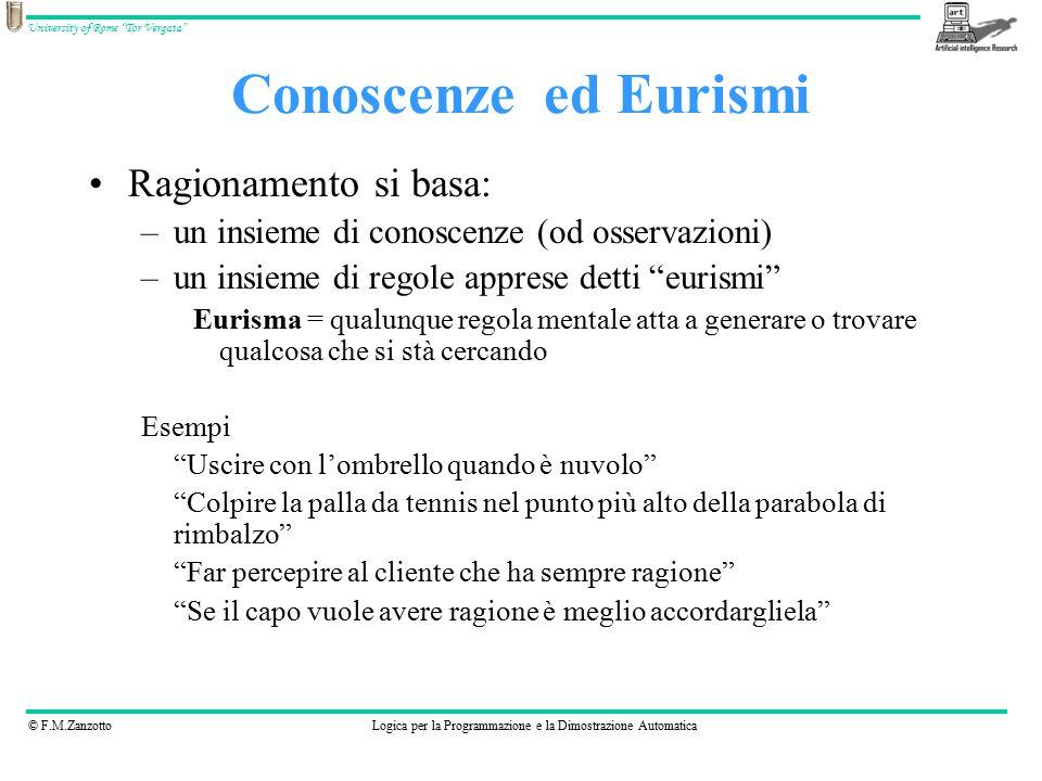"""© F.M.ZanzottoLogica per la Programmazione e la Dimostrazione Automatica University of Rome """"Tor Vergata"""" Conoscenzeed Eurismi Ragionamento si basa: –"""