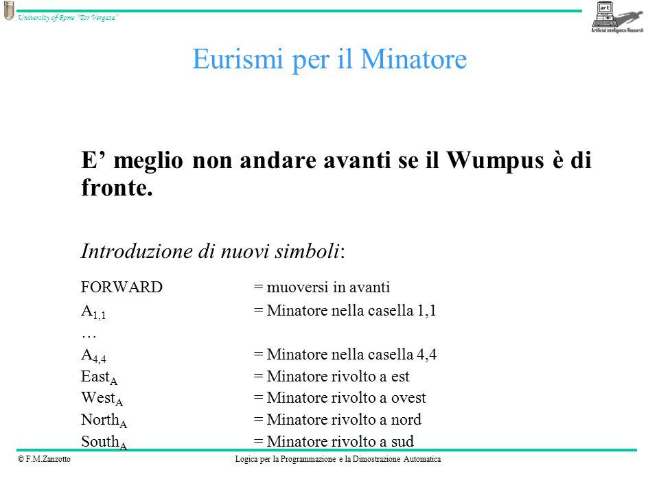 © F.M.ZanzottoLogica per la Programmazione e la Dimostrazione Automatica University of Rome Tor Vergata Eurismi per il Minatore E' meglio non andare avanti se il Wumpus è di fronte.