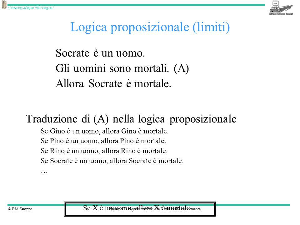 """© F.M.ZanzottoLogica per la Programmazione e la Dimostrazione Automatica University of Rome """"Tor Vergata"""" Logica proposizionale (limiti) Socrate è un"""