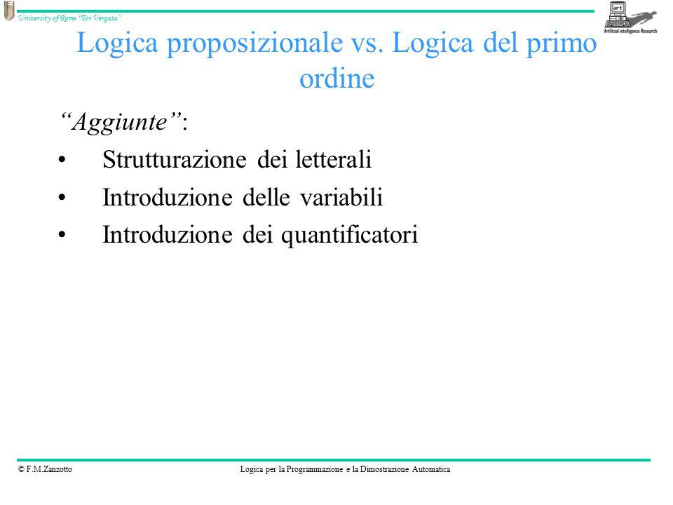 """© F.M.ZanzottoLogica per la Programmazione e la Dimostrazione Automatica University of Rome """"Tor Vergata"""" Logica proposizionale vs. Logica del primo o"""
