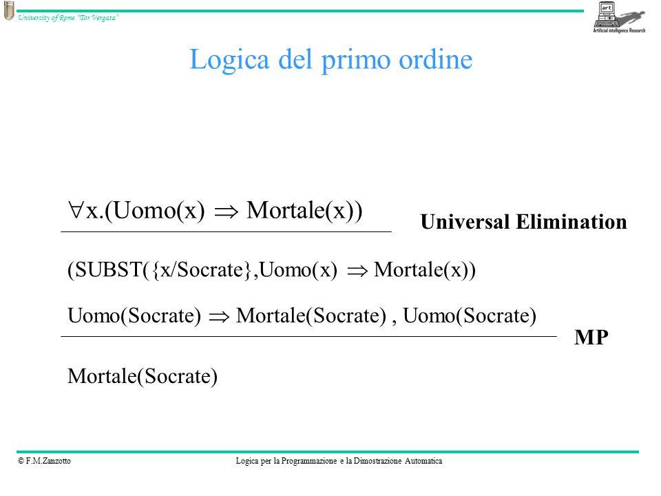 © F.M.ZanzottoLogica per la Programmazione e la Dimostrazione Automatica University of Rome Tor Vergata Logica del primo ordine  x.(Uomo(x)  Mortale(x)) (SUBST({x/Socrate},Uomo(x)  Mortale(x)) Universal Elimination Uomo(Socrate)  Mortale(Socrate), Uomo(Socrate) MP Mortale(Socrate)