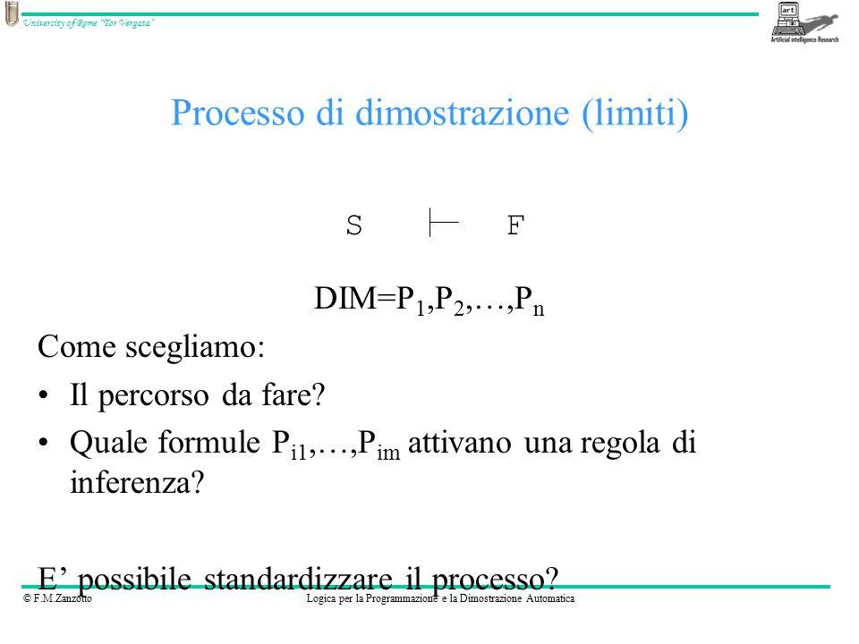 © F.M.ZanzottoLogica per la Programmazione e la Dimostrazione Automatica University of Rome Tor Vergata DIM=P 1,P 2,…,P n Come scegliamo: Il percorso da fare.