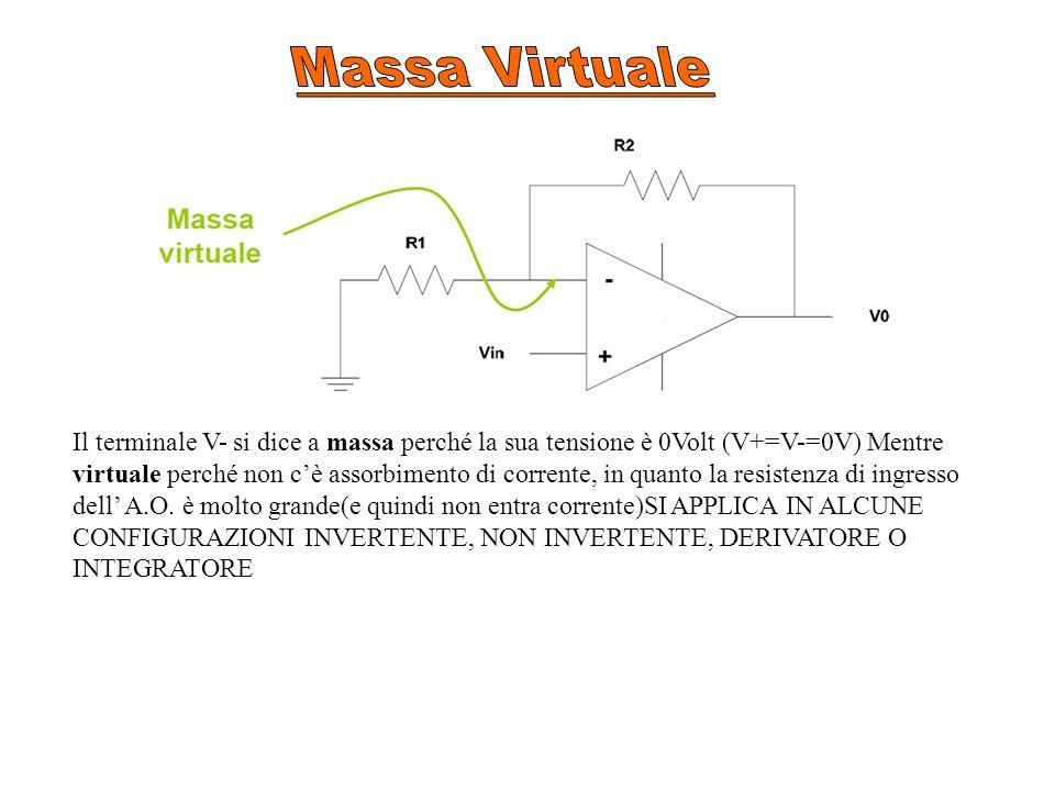 Il terminale V- si dice a massa perché la sua tensione è 0Volt (V+=V-=0V) Mentre virtuale perché non c'è assorbimento di corrente, in quanto la resistenza di ingresso dell' A.O.