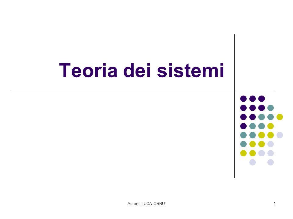 Autore: LUCA ORRU'1 Teoria dei sistemi