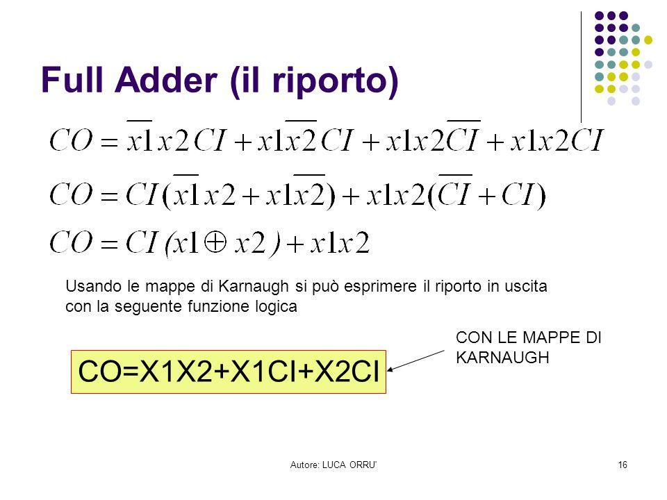 Autore: LUCA ORRU'16 Full Adder (il riporto) CO=X1X2+X1CI+X2CI CON LE MAPPE DI KARNAUGH Usando le mappe di Karnaugh si può esprimere il riporto in usc