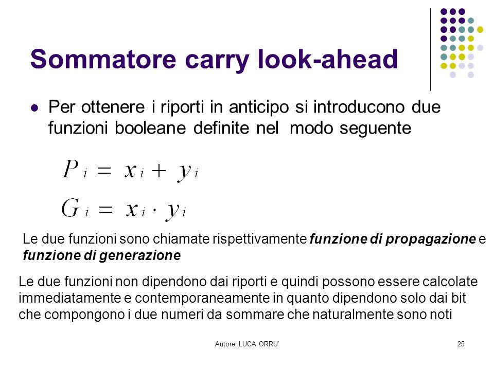Autore: LUCA ORRU'25 Sommatore carry look-ahead Per ottenere i riporti in anticipo si introducono due funzioni booleane definite nel modo seguente Le