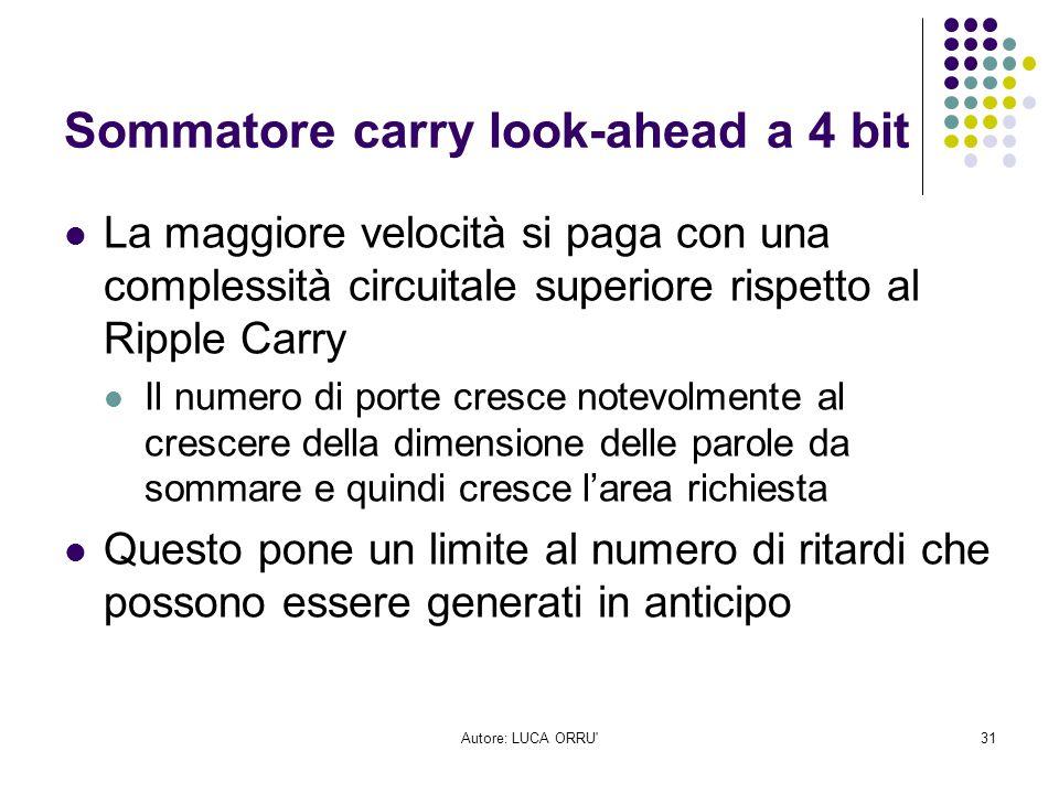 Autore: LUCA ORRU'31 Sommatore carry look-ahead a 4 bit La maggiore velocità si paga con una complessità circuitale superiore rispetto al Ripple Carry