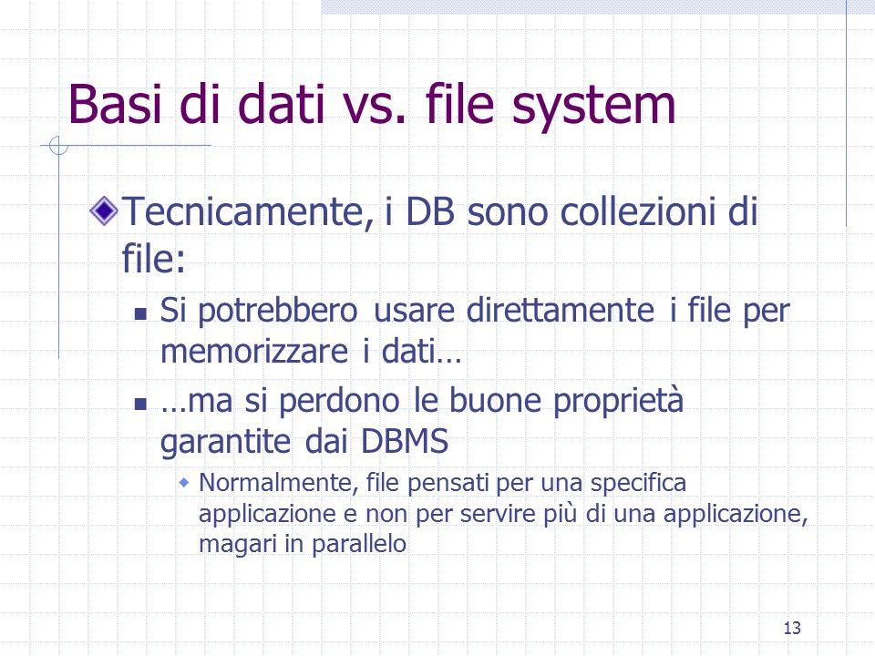 13 Basi di dati vs. file system Tecnicamente, i DB sono collezioni di file: Si potrebbero usare direttamente i file per memorizzare i dati… …ma si per