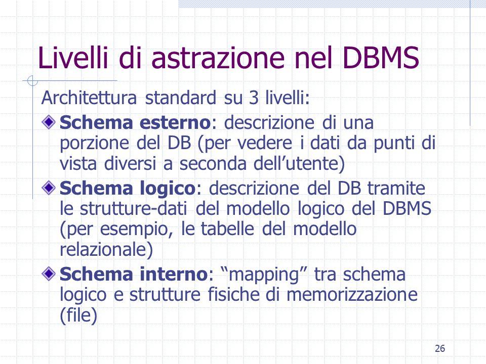 26 Livelli di astrazione nel DBMS Architettura standard su 3 livelli: Schema esterno: descrizione di una porzione del DB (per vedere i dati da punti d