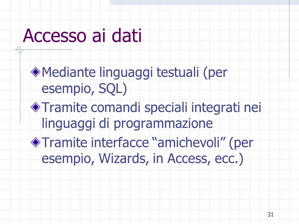 31 Accesso ai dati Mediante linguaggi testuali (per esempio, SQL) Tramite comandi speciali integrati nei linguaggi di programmazione Tramite interfacc