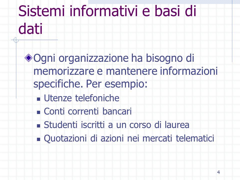 5 Sistemi informativi e basi di dati I sistemi informativi organizzano e gestiscono le informazioni necessarie alle attività di un'organizzazione: Inizialmente non erano automatizzati (per esempio, gli archivi bancari) Informatica  gestione automatica dei dati  basi di dati Informazione memorizzata in modo rigoroso