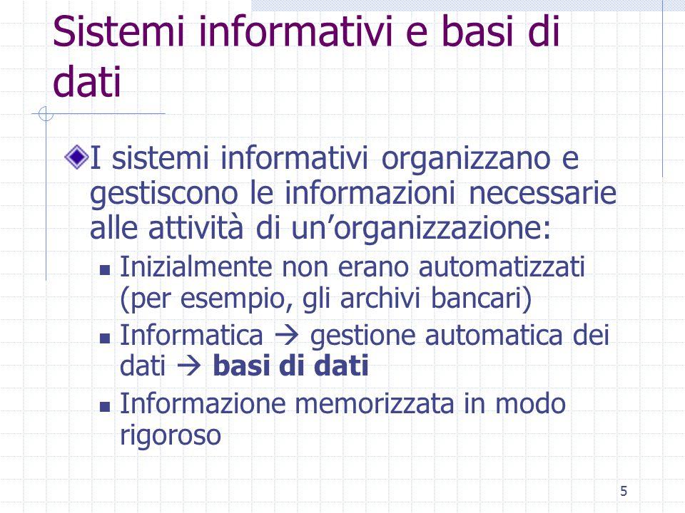 5 Sistemi informativi e basi di dati I sistemi informativi organizzano e gestiscono le informazioni necessarie alle attività di un'organizzazione: Ini