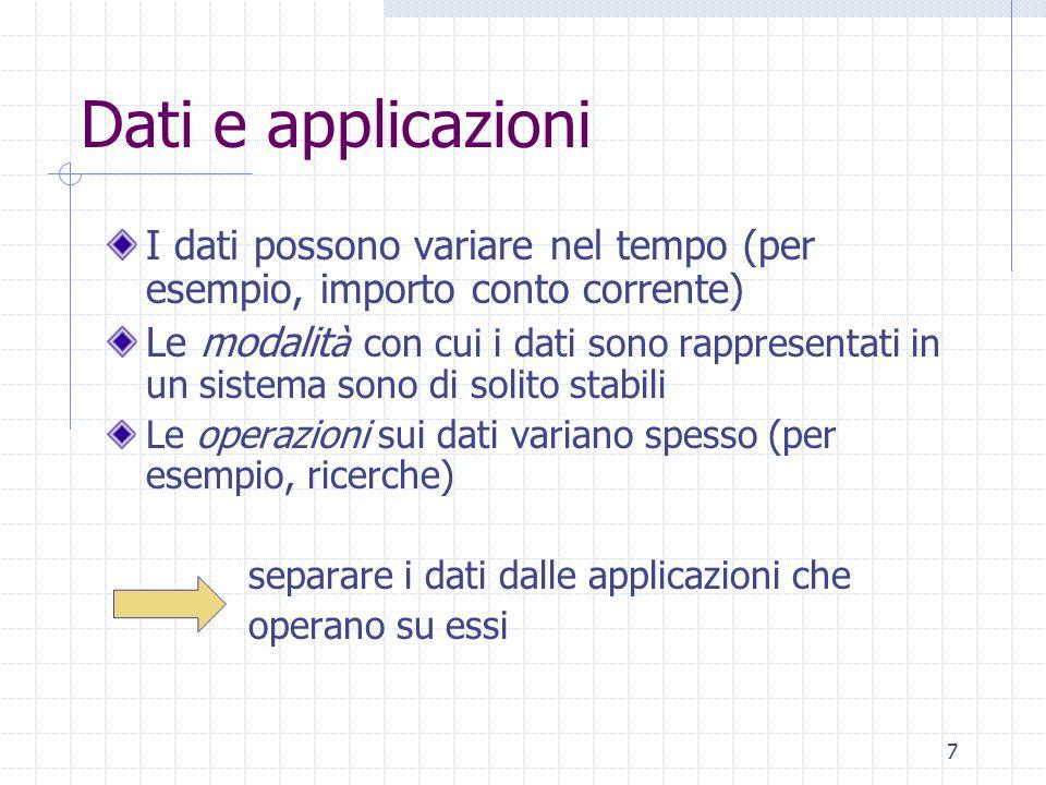 7 Dati e applicazioni I dati possono variare nel tempo (per esempio, importo conto corrente) Le modalit à con cui i dati sono rappresentati in un sist