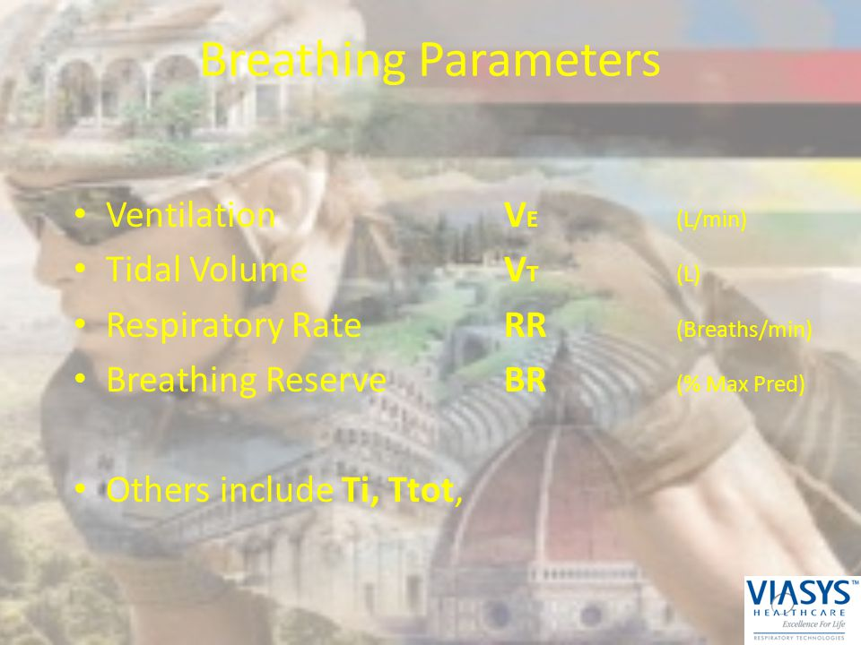 Breathing Parameters VentilationV E(L/min) Tidal VolumeV T(L) Respiratory RateRR (Breaths/min) Breathing ReserveBR (% Max Pred) Others include Ti, Tto