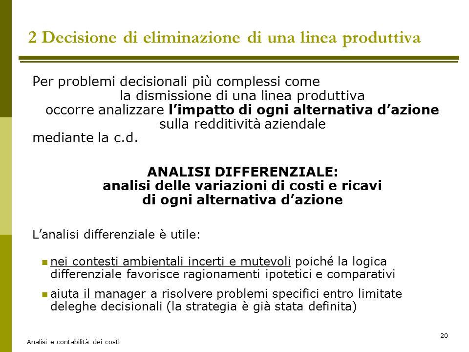 Analisi e contabilità dei costi 20 2 Decisione di eliminazione di una linea produttiva Per problemi decisionali più complessi come la dismissione di u