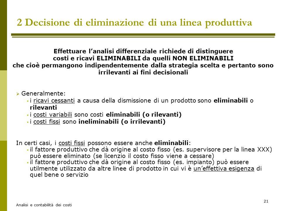 Analisi e contabilità dei costi 21 2 Decisione di eliminazione di una linea produttiva Effettuare l'analisi differenziale richiede di distinguere cost