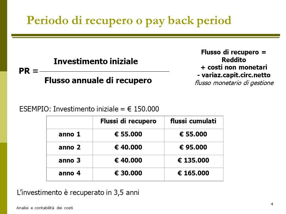 Analisi e contabilità dei costi 4 Investimento iniziale PR = Flusso annuale di recupero Flusso di recupero = Reddito + costi non monetari - variaz.cap
