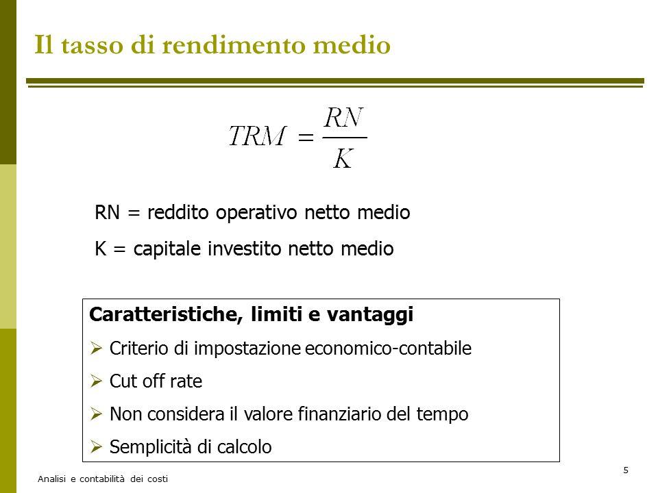 Analisi e contabilità dei costi 5 Il tasso di rendimento medio RN = reddito operativo netto medio K = capitale investito netto medio Caratteristiche,