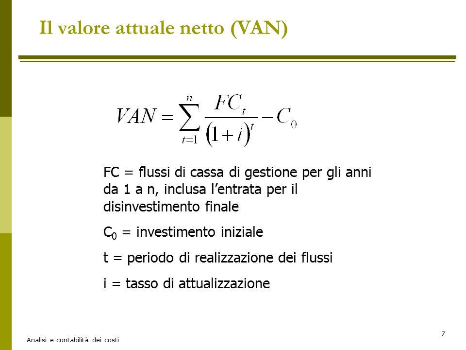 Analisi e contabilità dei costi 7 FC = flussi di cassa di gestione per gli anni da 1 a n, inclusa l'entrata per il disinvestimento finale C 0 = invest