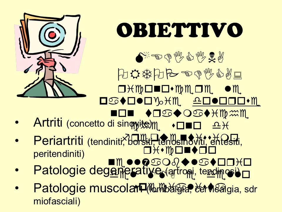 OBIETTIVO Artriti (concetto di sinovite) Periartriti (tendiniti, borsiti, tenosinoviti, entesiti, peritendiniti) Patologie degenerative (artrosi, tend