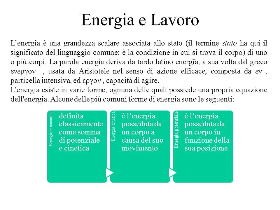 Energia e Lavoro L'energia è una grandezza scalare associata allo stato (il termine stato ha qui il significato del linguaggio comune: è la condizione