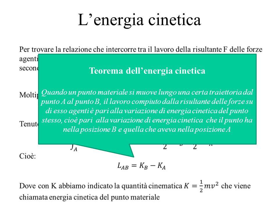 L'energia cinetica Teorema dell'energia cinetica Quando un punto materiale si muove lungo una certa traiettoria dal punto A al punto B, il lavoro comp