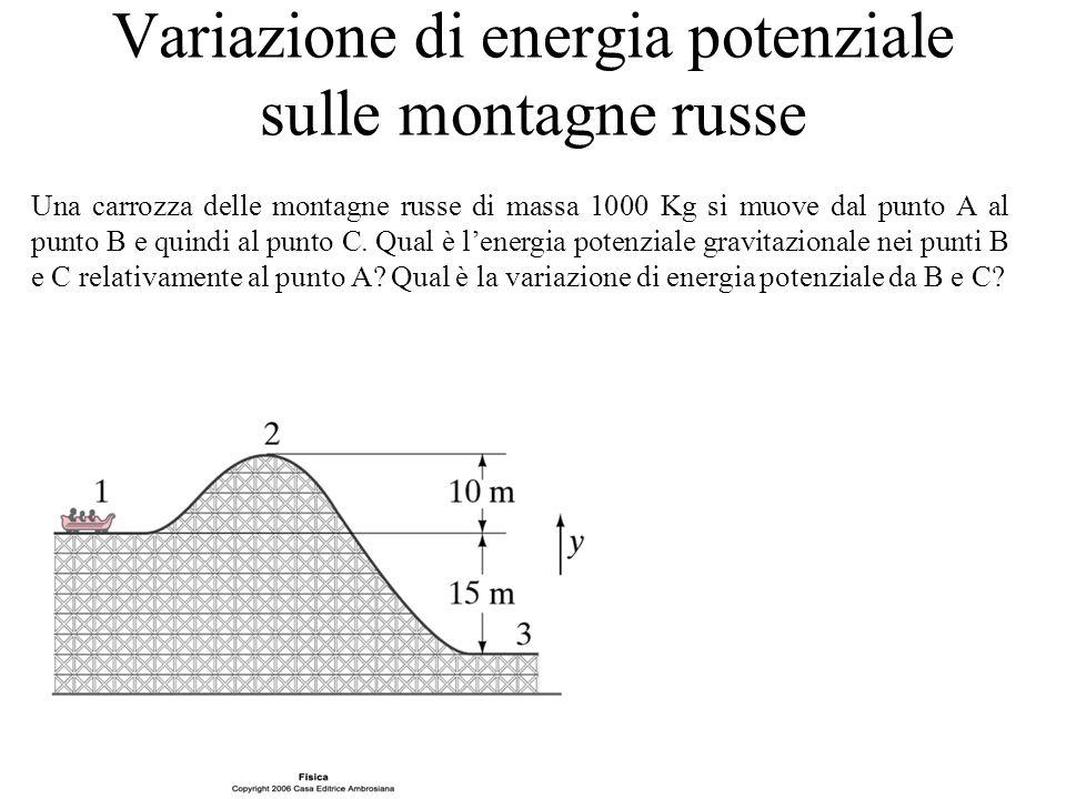 Variazione di energia potenziale sulle montagne russe Una carrozza delle montagne russe di massa 1000 Kg si muove dal punto A al punto B e quindi al p