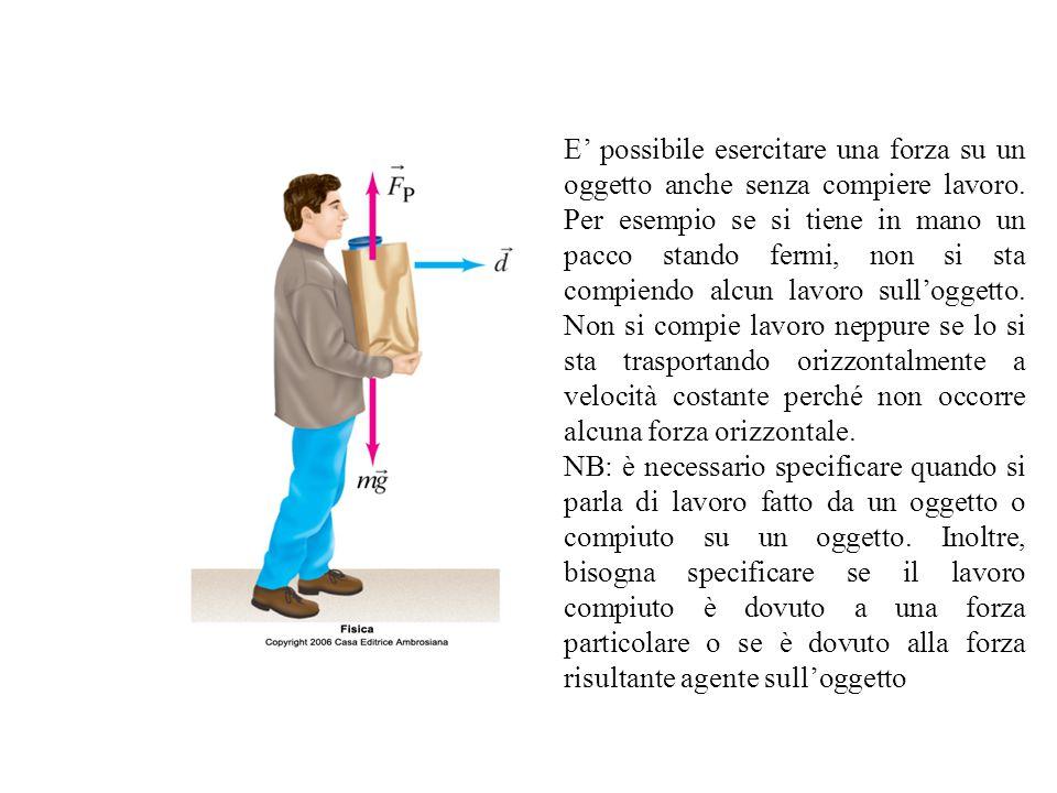 E' possibile esercitare una forza su un oggetto anche senza compiere lavoro. Per esempio se si tiene in mano un pacco stando fermi, non si sta compien