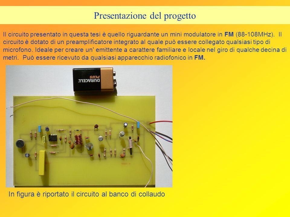 Descrizione generale del progetto Il progetto sviluppato è relativo ad un modulatore FM di bassa potenza.