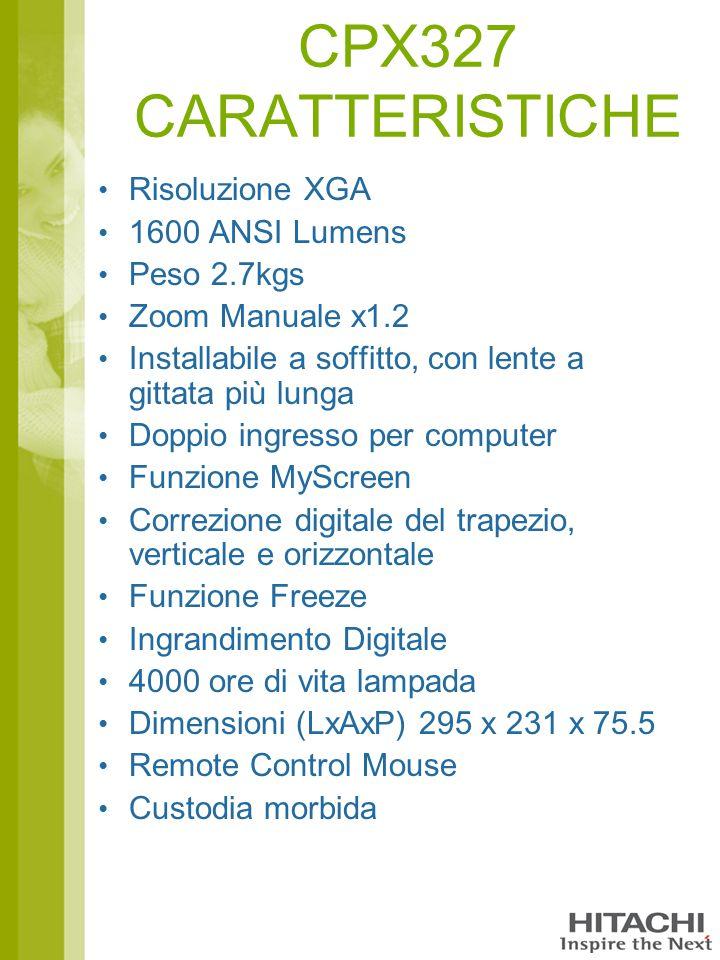 CPX327 CARATTERISTICHE Risoluzione XGA 1600 ANSI Lumens Peso 2.7kgs Zoom Manuale x1.2 Installabile a soffitto, con lente a gittata più lunga Doppio in