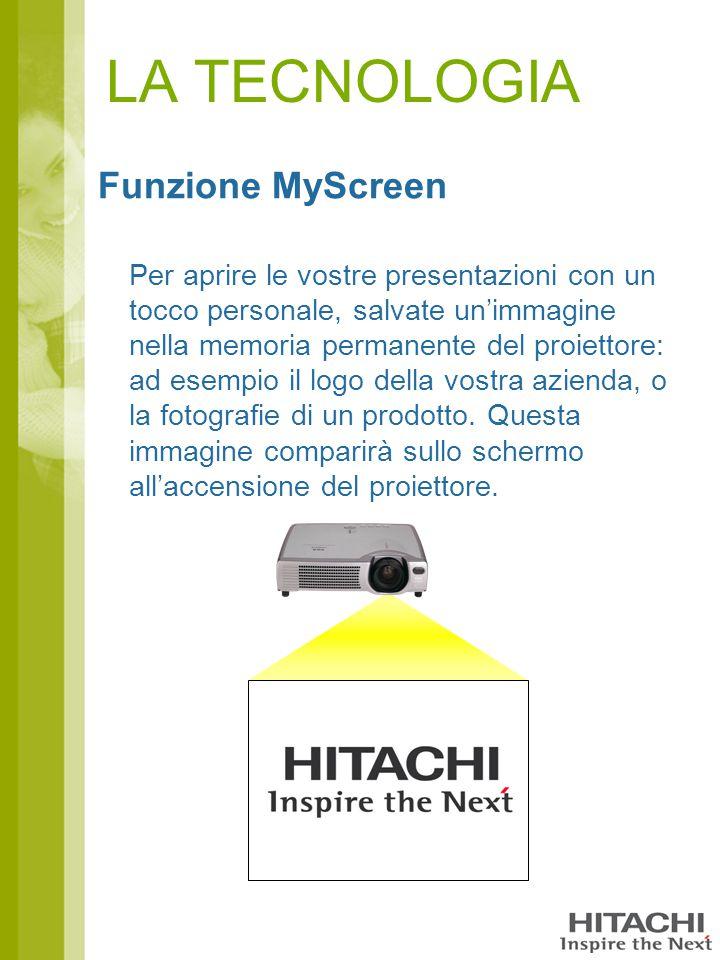 LA TECNOLOGIA Funzione MyScreen Per aprire le vostre presentazioni con un tocco personale, salvate un'immagine nella memoria permanente del proiettore: ad esempio il logo della vostra azienda, o la fotografie di un prodotto.